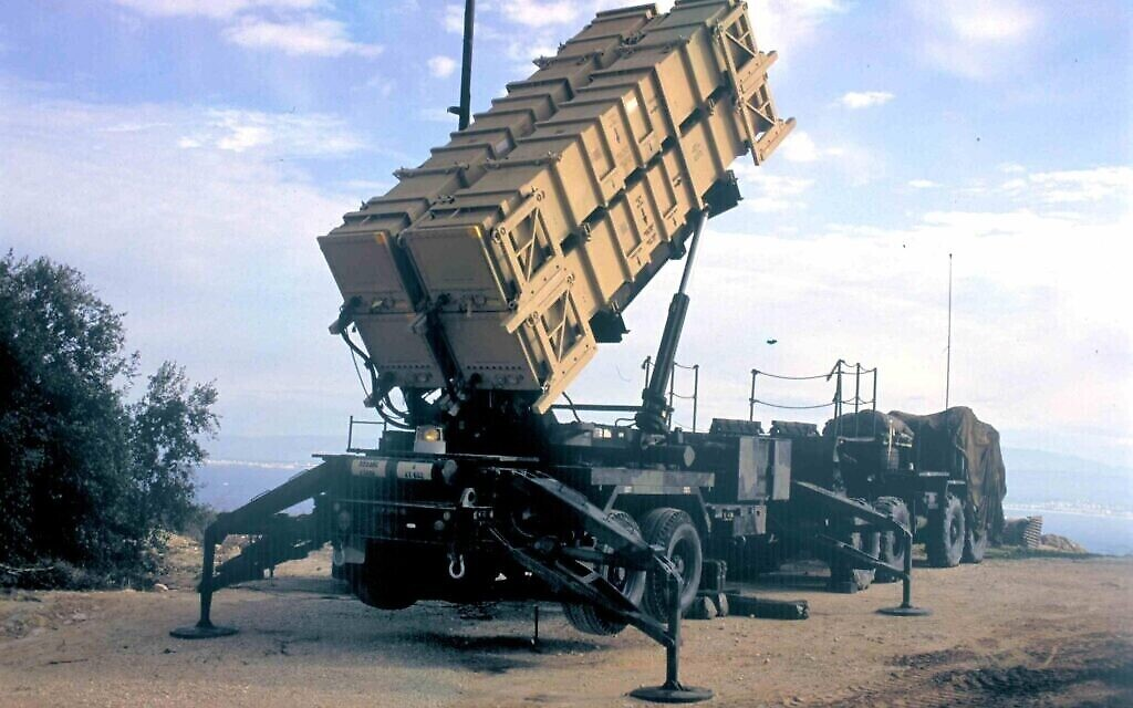 Un système de défense antimissile américain Patriot déployé en Israël en réponse à une série d'attaques de missiles Scud par l'Irak pendant la première guerre du Golfe de 1991. (Noam Wind / Archives du ministère de la Défense)