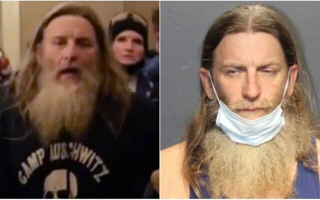 Robert Keith Packer pendant l'assaut du Capitole, le 6 janvier, et en prison en Virginie, le 13 janvier 2013. (Capture d'écran : Twitter/Western Tidewater Regional Jail)