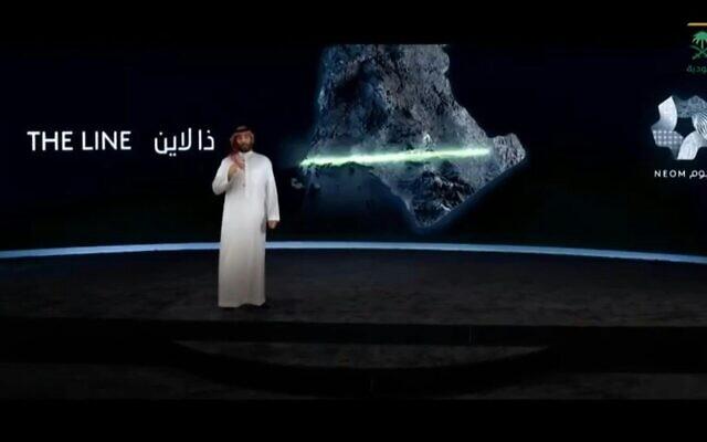 """Le prince héritier saoudien Mohammed ben Salmane annonce le lancement d'une ville écologique avec """"zéro voiture, zéro route, zéro émission de CO2"""" à NEOM, une zone du nord-ouest du royaume actuellement en développement. (Crédit : AFPTV)"""