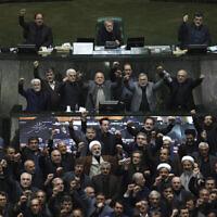 Des députés iraniens scandent des slogans anti-américains et anti-israéliens pour protester contre l'assassinat par les Etats-Unis du général Qassem Soleimani, au début d'une session ouverte du Parlement à Téhéran, en Iran, le 5 janvier 2020. (Mohammad Hassanzadeh/Tasnim News Agency via AP)
