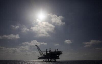Le champ gazier Leviathan, situé au large d'Israël, en mer Méditerranée, le 29 septembre 2020. (AP/Ariel Schalit)