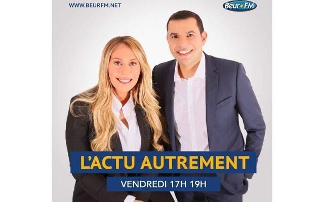 Rose Ameziane et Malik Yettou, présentateurs de l'émission «L'Actu Autrement» sur Beur FM. (Crédit : Beur FM)