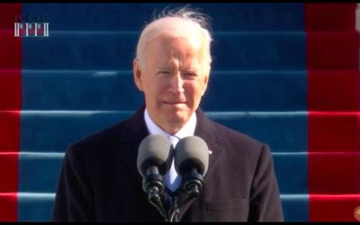 Joe Biden à sa prestation de serment, le 20 janvier 2021. (Crédit : capture d'écran YouTube)
