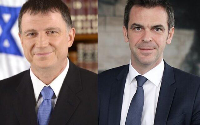 Yuli Edelstein et Olivier Véran, ministres de la Santé israélien et français. (Crédit : La France en Israël / Twitter)