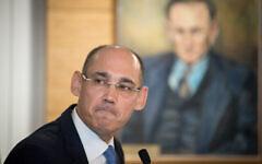 Le gouverneur de la Banque d'Israël, Amir Yaron, assiste à une conférence de presse le 31 mars 2019. (Crédit : Yonatan Sindel / Flash90)