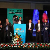 Des membres de la Liste arabe unie au quartier général du parti dans la ville arabe de Shfaram, lors des élections à la Knesset, le 2 mars 2020. (Photo par David Cohen/Flash90)