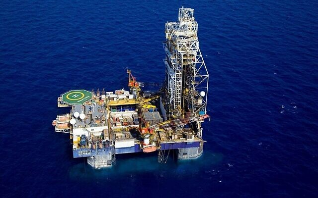La plate-forme de gaz Tamar, située à 23 kilomètres à l'ouest de la ville de Haïfa dans le nord d'Israël. (AP/Albatross Aerial Perspective)