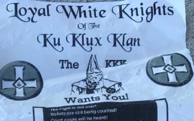 Un tract du KKK trouvé à Tulelake, Californie, le 27 décembre 2020. (Autorisation : Klamath Falls Herald and News via JTA)