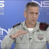 Le chef d'état-major de l'armée israélienne, Aviv Kohavi, s'exprime lors de la conférence annuelle du groupe de réflexion de l'Institut des études de sécurité nationale, le 26 janvier 2021. (Capture d'écran/INSS)