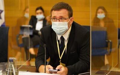 Le professeur Hagai Levine de l'Université hébraïque lors d'une réunion de la commission sur le coronavirus de la Knesset à Jérusalem, le 13 octobre 2020. (Shmulik Grossman/Knesset)
