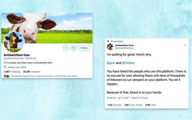 Antisemitism Cow, un compte anonyme qui souligne les tweets antisémite, a interpellé Twitter. (Captures d'écran de Twitter via JTA)