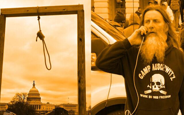 Le pull de Robert Keith Packer, à droite, était l'un des nombreux symboles de haine présents lors de l'assaut du Capitole. D'autres émeutiers ont construit un nœud coulant. (Crédit : Andrew Caballero-Reynolds / AFP Images et capture d'écran de Reddit via JTA)