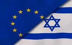 Image illustrative des drapeaux de l'Union européenne et d'Israël. (Maksym Kapliuk ; iStock par Getty Images)