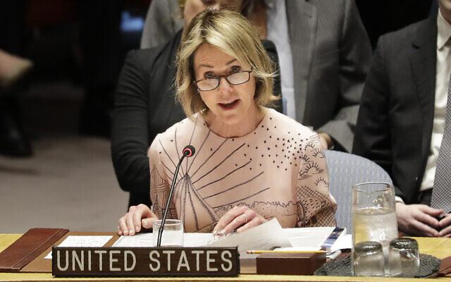 Illustration : Kelly Craft, ambassadrice des États-Unis auprès des Nations Unies, lors d'une réunion du Conseil de sécurité au siège des Nations unies, le 11 février 2020. (Crédit : AP Photo / Seth Wenig)