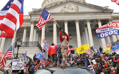 Le rassemblement pro-Trump au Capitole américain, Washington, D.C., le 6 janvier 2021. (Lloyd Wolf via JTA)