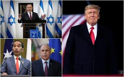 De haut en bas, dans le sens des aiguilles d'une montre : Le Premier ministre  Benjamin Netanyahu, le président américain Donald Trump, le président mauritanien Mohamed Ould El-Ghzaouani et le président indonésient Joko Widodo. (Crédit : Collage/AP)