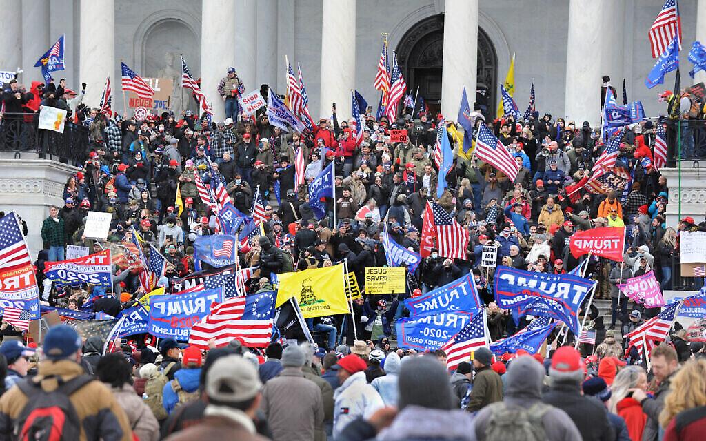 Le rassemblement pro-Trump au Capitole américain, Washington, D.C., le 6 janvier 2021. (Lloyd Wolf via JTA)