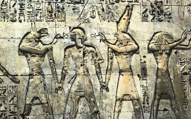 Photo d'illustration : Des inscriptions dans le Memnonium de Seti I, à Abydos. (Crédit : Brooklyn Museum Archives/Wikimedia)