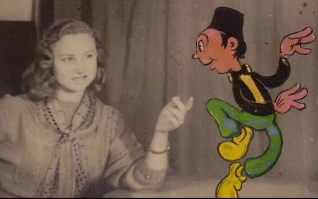 Une image de Bukra fil Mish Mish avec le personnage principal face à la vraie chanteuse libanaise Sabah. (Autorisation : Menemsha Films)