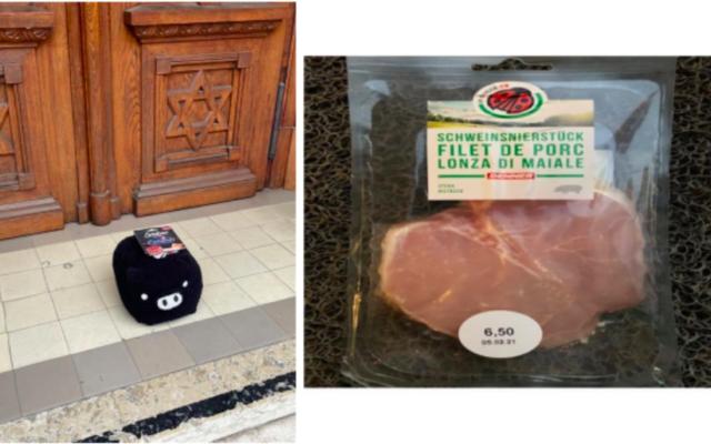 À gauche : le cochon en peluche et le paquet de lardons déposés devant la synagogue de Lausanne le 30 janvier. À droite : un des paquets de filet de porc retrouvé devant le centre communautaire du GIL à Genève, le 3 février. (Crédit : CICAD)