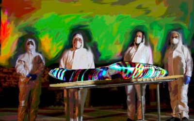 Une illustration montrant des travailleurs de la Chevra Kadisha se préparant à porter le corps du rabbin Avraham Yeshayahu Haber décédé des suites d'une infection à coronavirus, au salon funéraire Shamgar à Jérusalem, le 23 avril 2020 (Crédit : Yonatan Sindel / Flash90)