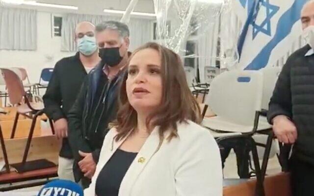 La maire adjointe de Jérusalem, Hagit Moshe, après avoir été déclarée vainqueur des élections pour la direction du parti du Foyer juif, le 19 janvier 2021. (YouTube)