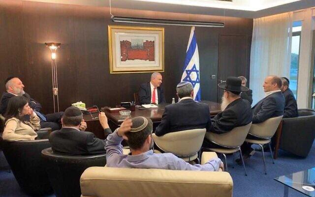 Le Premier ministre Benjamin Netanyahu rencontre ses alliés de droite et religieux à la Knesset, le 4 novembre 2019. (Autorisation)