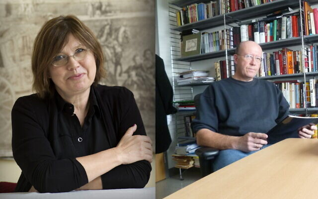 Barbara Engelking, spécialiste de la Shoah, (à gauche) et Jan Grabowski, spécialiste de la Shoah, (à droite). (Yad Vashem via AP / Autorisation)