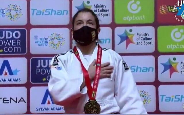 Timna Nelson Levy après sa victoire au Grand Chelem de judo de Tel-Aviv (Capture d'écran : Twitter)
