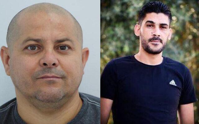 L'Israélien Yuri Shaulov, à gauche, est accusé de trafic d'armes avec un résident de Cisjordanie, Muhammad Abu Hiya, à droite, selon le Shin Bet, le 3 février 2021.(Crédit : Government Press Office)