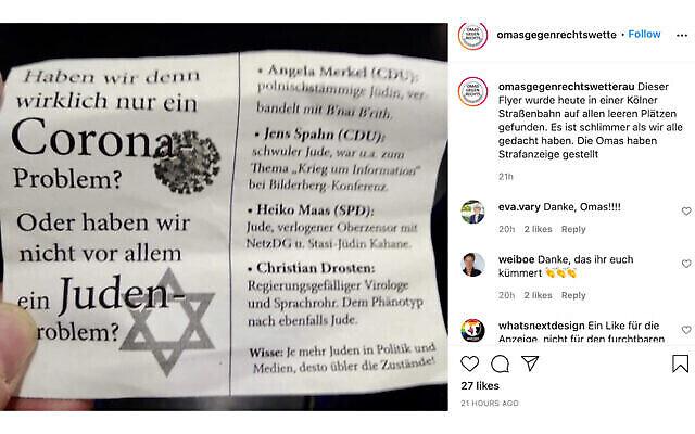 """La section allemande du groupe """"Grands-mères contre la droite"""" a condamné le tract sur Instagram. (Grands-mères contre la droite / Instagram via JTA)"""