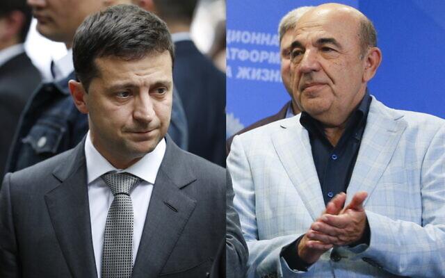 Le président ukrainien Volodymyr Zelensky, à gauche, et le leader de l'opposition Vadim Rabinovich, à droite. (Crédit : AP/Seth Wenig/Efrem Lukatsky)