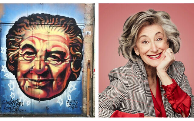 A gauche : Un portrait de Golda Meir sur le marché Mahane Yehuda de Jérusalem réalisé par Solomon Souza (Crédit : Renee Ghert-Zand/TOI); A droite : Dame Maureen Lipman (Jay Brooks)