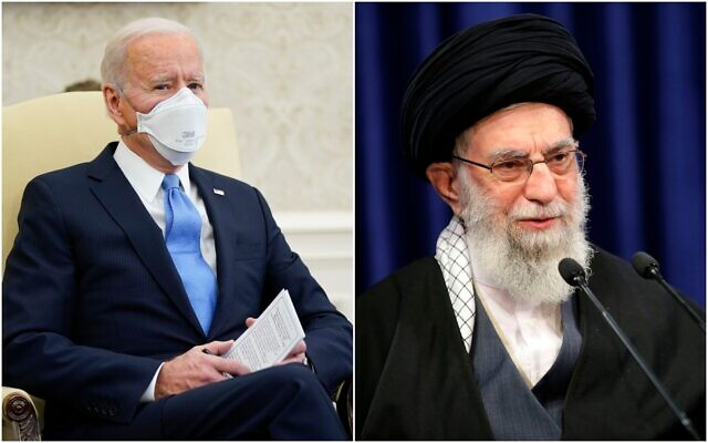 Le président américain Joe Biden (à gauche) et le guide suprême iranien Ali Khamenei. (Crédit : Collage, AP)