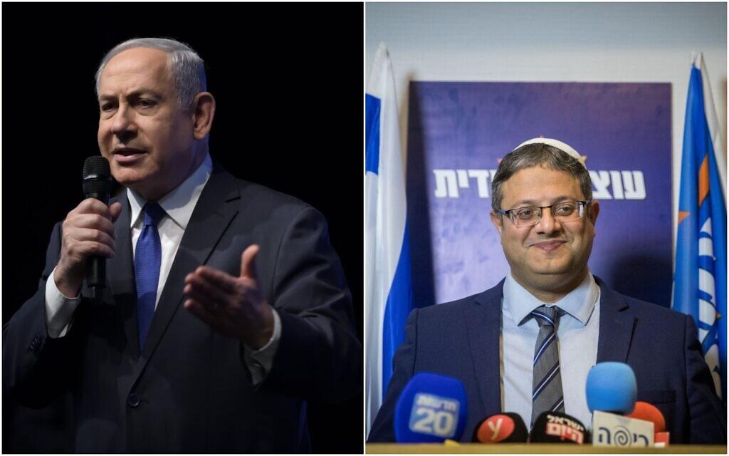 Photo de gauche: Le Premier ministre Benjamin Netanyahu prononce un discours lors du rassemblement électoral du parti du Likud à Ramat Gan, le 29 février 2020. (Gili Yaari/Flash90). Photo de droite: Itamar Ben Gvir, chef du parti Otzma Yehudit, lors d'une conférence de presse à Jérusalem, le 26 février 2020. (Yonatan Sindel/Flash90)