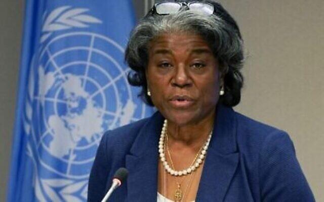 L'ambassadrice américaine aux Nations unies, Linda Thomas-Greenfield, au siège de l'ONU à New York, le 1er mars 2021. (Crédit : TIMOTHY A. CLARY / AFP)