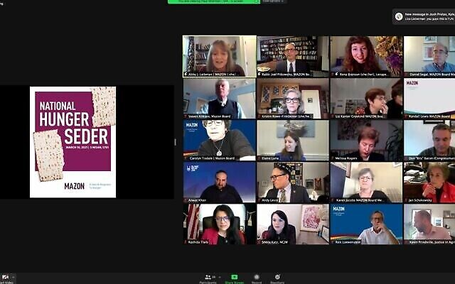 Capture d'écran d'un Seder virtuel avec des législateurs américains, organisé par MAZON, un groupe juif de lutte contre la faim, 18 mars 2021 (Crédit : MAZON)