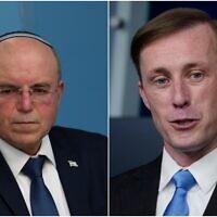 Montage : le président du Conseil national de sécurité israélien, Meir Ben-Shabbat (à droite), et le conseiller à la sécurité nationale américain, Jake Sullivan. (Crédit : Flash90, AP)