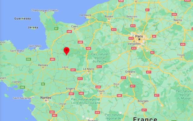 Localisation de Couesmes-Vaucé, en Mayenne. (Crédit : Google Maps)