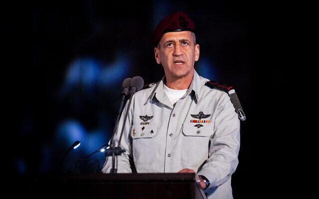 Le chef d'Etat-major Aviv Kochavi lors d'une cérémonie organisée par la marine israélienne sur la base navale de Haïfa, en Israël, le 4 mars 2020. (Crédit :  Flash90)