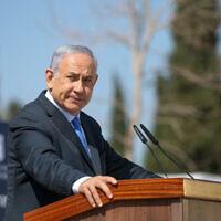 Le Premier ministre Benjamin Netanyahu lors d'une cérémonie à Tel-Hai, dans le nord d'Israël, le 23 février 2021. (David Cohen/Flash90)