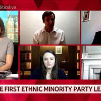 Des panélistes de la BBC discutent du statut des Juifs en tant que minorité ethnique, le 1er mars 2021. (Capture d'écran)