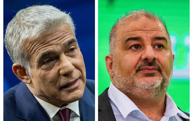 Yair Lapid, à gauche, et Mansour Abbas, à droite. (Crédit : Flash90)