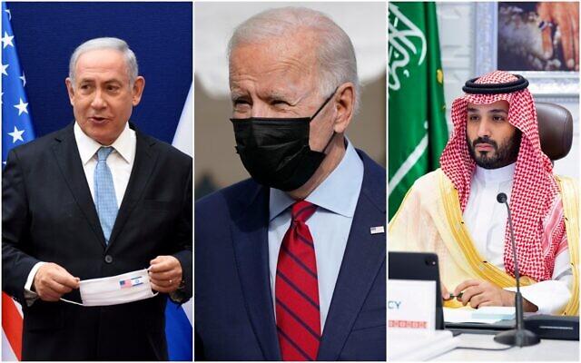 (De gauche à droite) Le Premier ministre israélien Benjamin Netanyahu, le Président américain Joe Biden et le Prince héritier saoudien Mohammed ben Salman. (AP/collage)