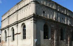 La Grande synagogue de Brody en Ukraine, en 2012. (Crédit : Wikimedia Commons via JTA)