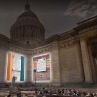 «Ces murs qui nous font signe», projection de plaques de commémoration de la Seconde Guerre mondiale sur le Panthéon. (Crédit : 2e bureau/Philippe Apeloig)