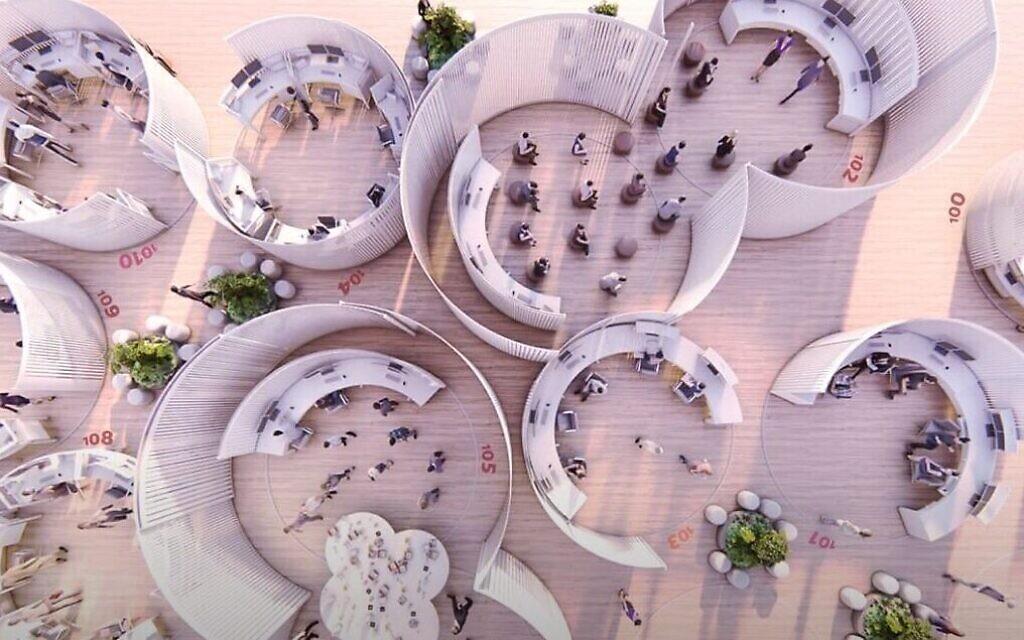 Le bureau du futur imaginé par Rotem Kenan & Maya Schuldenfrei pour Check Point, qui arrondit la forme des espaces ouverts. (Autorisation)