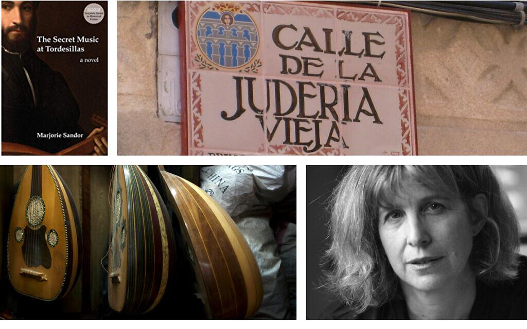 Du haut à gauche, dans le sens des aiguilles du montre : 'The Secret Music at Tordesillas' de Marjorie Sandor ; la Calle de la Juderia, ou quartier juif, à   Segovia, en Espagne ; l'auteure Marjorie Sandor (Autorisation : Marjorie Sandor) ; Ouds au Caire (Crédit : AP Photo/Nasser Nasser).