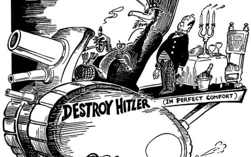 """Caricature éditoriale pour le quotidien """"PM"""" par Theodore Geisel. (Domaine public)"""