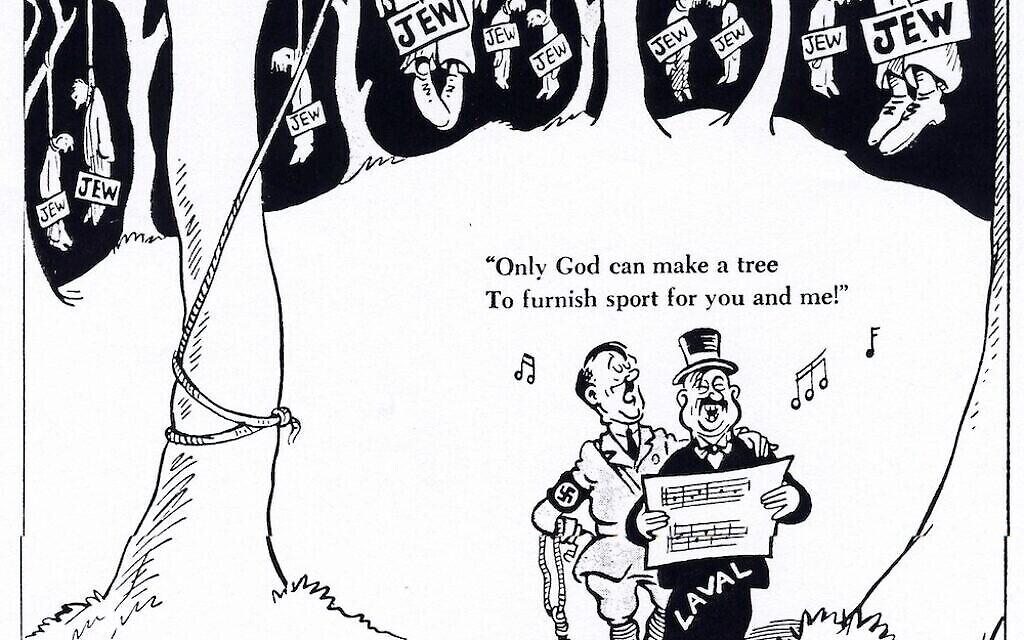 """Caricature éditoriale de Theodore Geisel pour le quotidien """"PM"""", représentant Hitler et le collaborateur français Laval, qui a été exécuté après la guerre. (Domaine public)"""